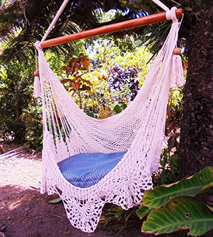 Amazon.com : Amazing hammock chair crochet beige / Indoor outdoor ...