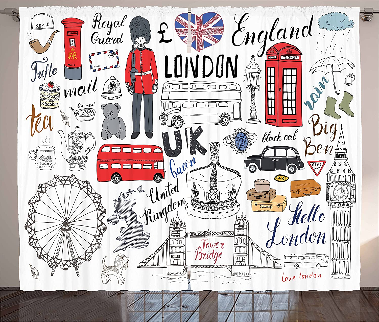 Ambesonne Hipster Curtains, I Love London Double Decker Bus Telephone Booth Cab Crown of United Kingdom Big Ben, Living Room Bedroom Window Drapes 2 Panel Set, 108