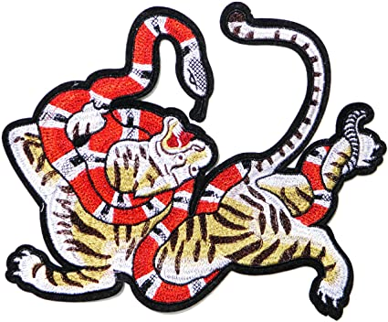 10quot XXL Red Snake Tiger Animal Symbol Logo Back Patch Iron On Sew Embroidered Applique