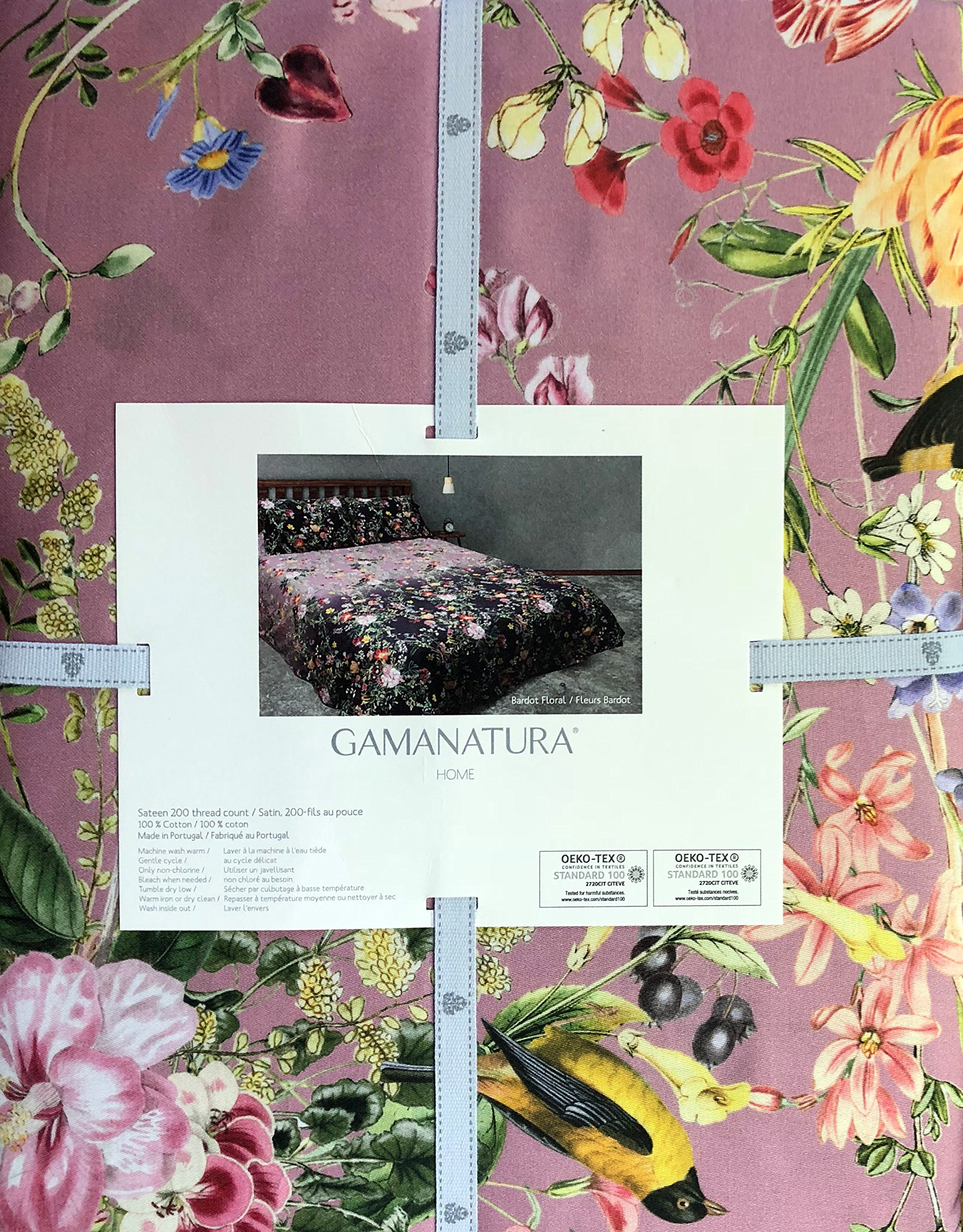 CDM product Gamanatura Home Bedding 3 Piece Queen Size Bed Duvet Comforter Cover Set Rich Floral Wild Flowers Pattern in Shades of Purple Orange Red Pink Cream Green on Lavender with Yellow Birds small thumbnail image