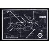 "Amazon Brand – Rivet Black and White Blueprint Map of London Underground Wall Art, Black Frame, 26"" x 18"""