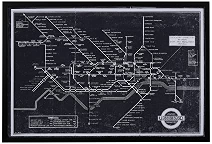 Rivet Black And White Blueprint Of London Underground, Black Frame,  26u0026quot; ...