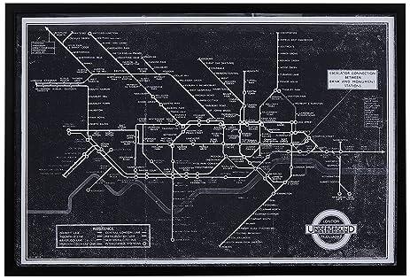 Amazon black and white blueprint of london underground black black and white blueprint of london underground black frame 26quot malvernweather Image collections