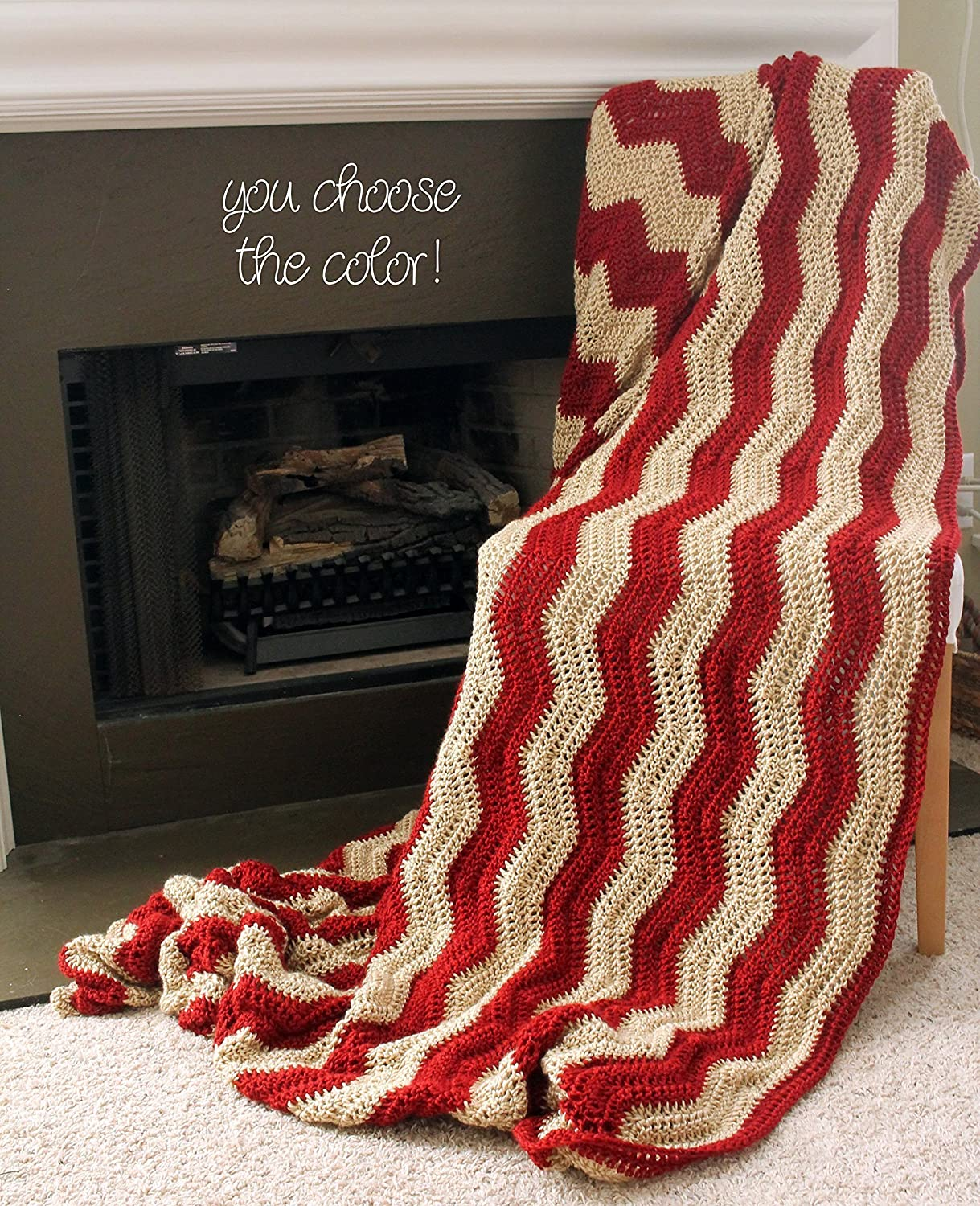 Image of Chevron Afghan Throw Blanket Crochet - Large Vertical Light Brown and Dark Red Striped Ripple Zig Zag - Made To Order Home and Kitchen
