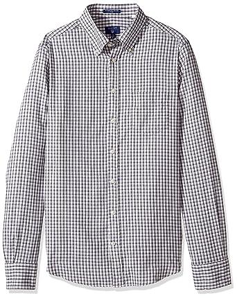 e7bd830804c GANT Men's Windblown Oxford Mini Plaid Fitted Button Down Shirt, Charcoal  Melange, Large at Amazon Men's Clothing store: