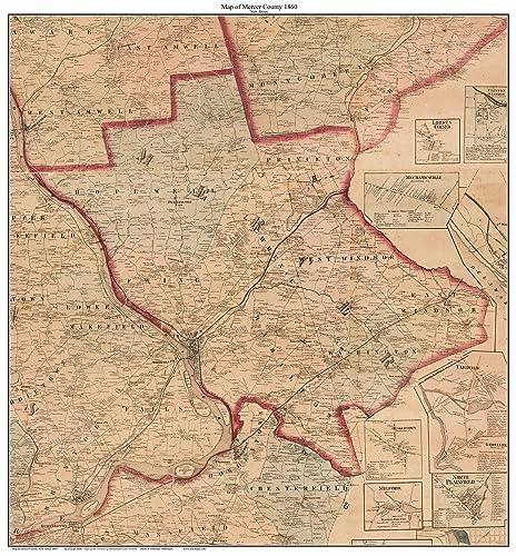 Amazon.com: Mercer County New Jersey 1860 - Custom Wall Map with ...