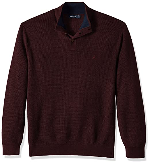 Nautica Mens Long Sleeve Button Mock Neck Sweater At Amazon Mens
