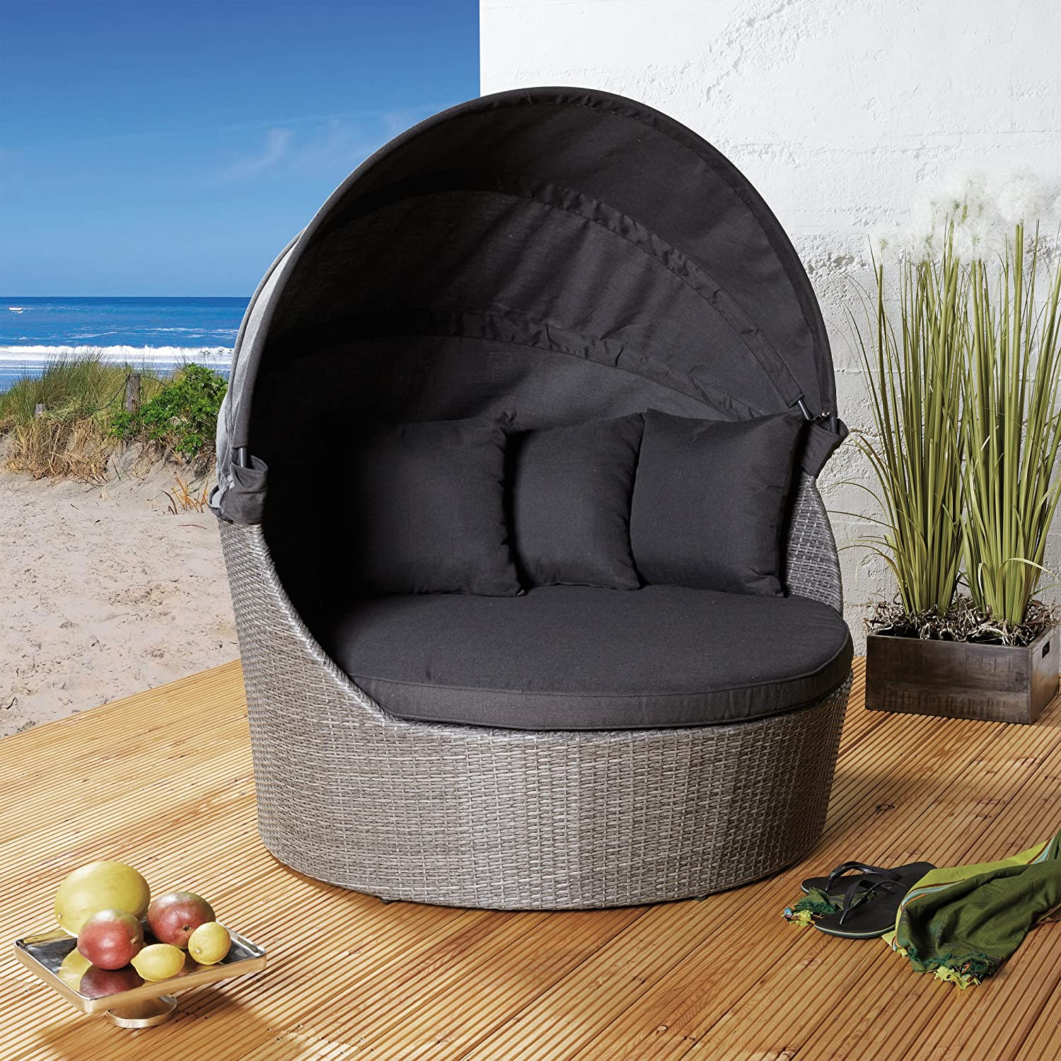 strandkorb poly rattan liegeinsel sonneninsel dunkel. Black Bedroom Furniture Sets. Home Design Ideas