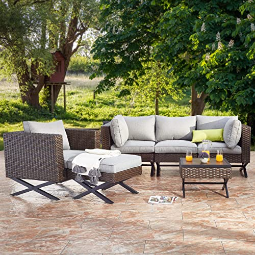 PatioFestival Patio Conversation Set X-Leg Sectional 6 Pieces Cushioned Outdoor Furniture Sets