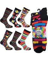 Ayra - 6 Pairs of Mens VIVID Odd Stripes and Spots Socks