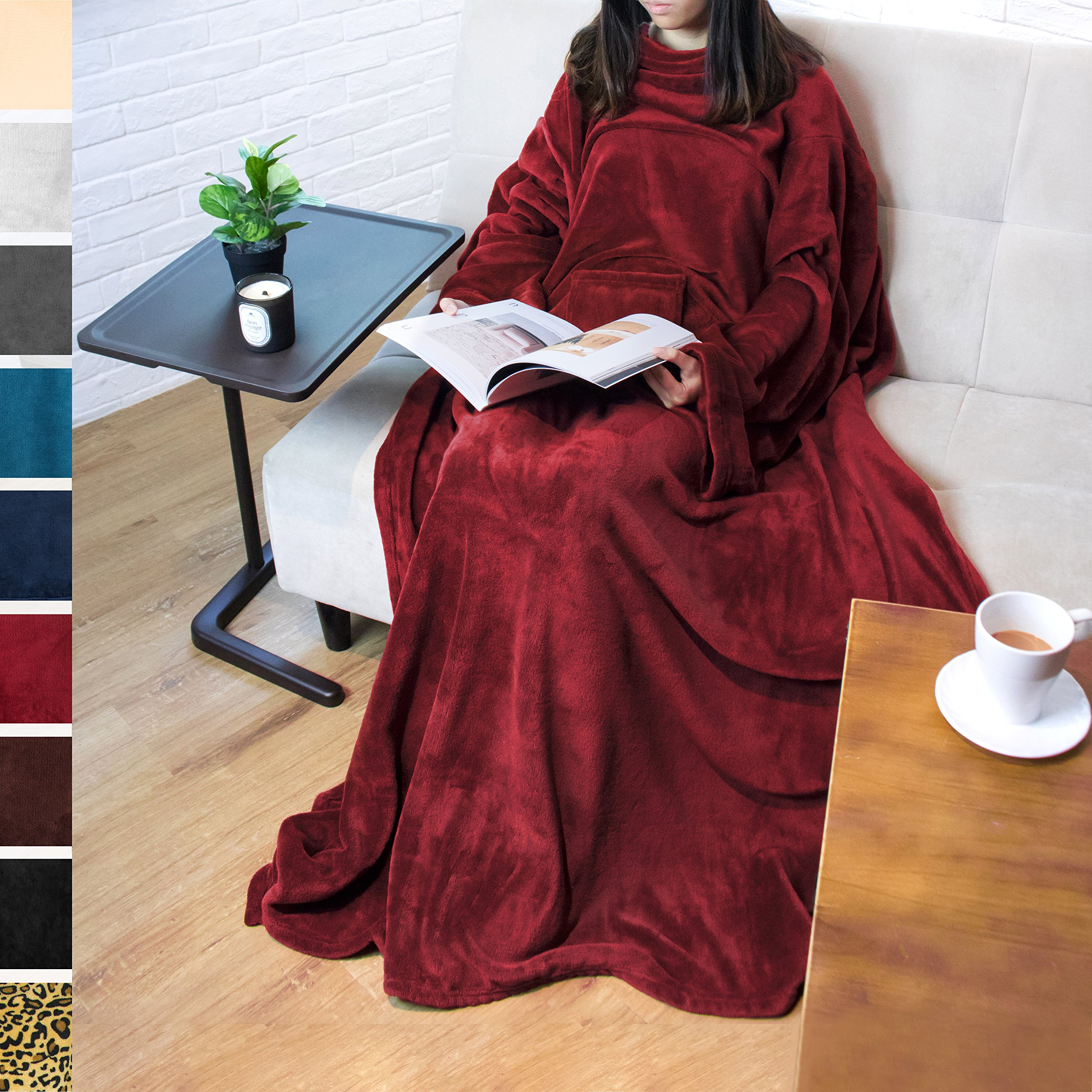 PAVILIA Premium Fleece Blanket with Sleeves for Adult, Women, Men | Warm, Cozy, Extra Soft, Microplush, Functional, Lightweight Wearable Throw (Wine, Regular Pocket)