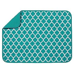 "S&T XL Microfiber Dish Drying Mat, 18"" x 24"", Teal Trellis"