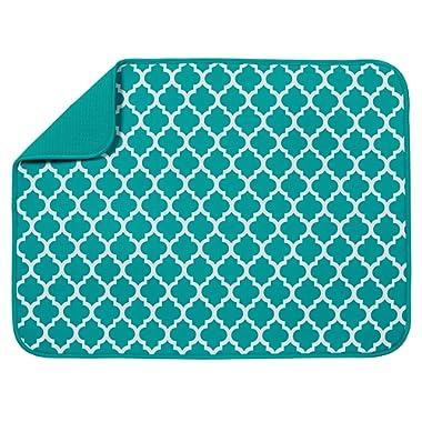 S&T XL Microfiber Dish Drying Mat, 18  x 24 , Teal Trellis