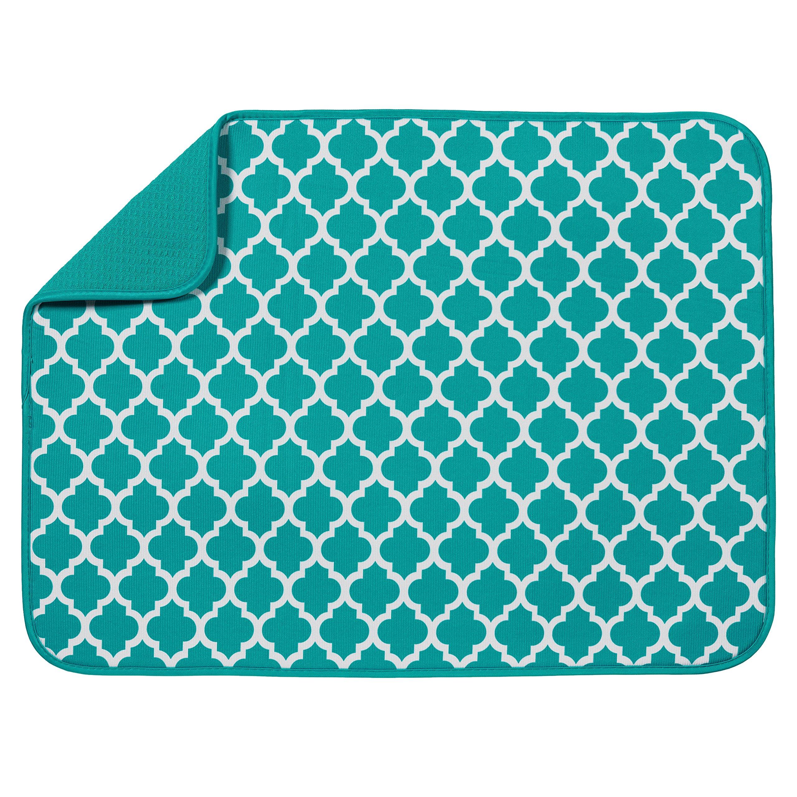 S&T XL Microfiber Dish Drying Mat, 18'' x 24'', Teal Trellis