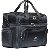 Large Cooler Bag. Two Insulated Compartment, Heavy Duty Fabric, Thick Insulation, 2 Heat Sealed Soft Peva Liner, Many Pockets, Strong Double Zipper, Padded Straps. Men Women Adults