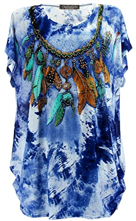 Charleselie94® - Tee Shirt drapé Strass Tunique Grande Taille Bleu Cherokee  Bleu - 38 d55d225981d