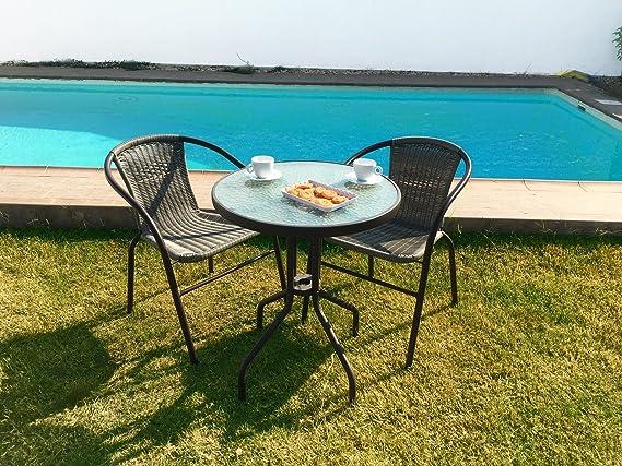 KieferGarden Gastroset Conjunto de Mesa y 2 sillas para jardín y terraza en ratán sintético: Amazon.es: Jardín