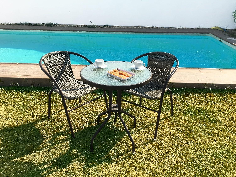 KieferGarden Gastroset Conjunto de Mesa y 2 sillas para jardín y ...