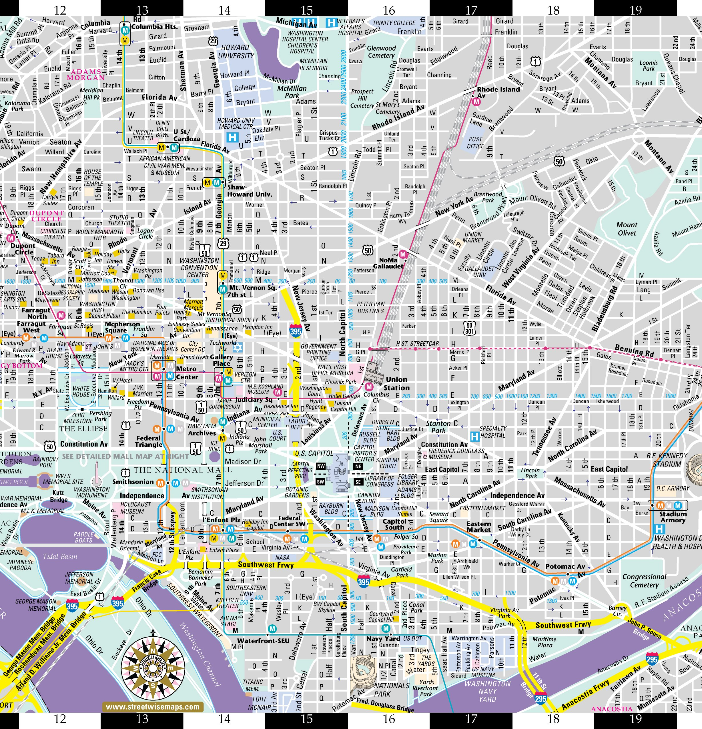 photo about Printable Street Map of Washington Dc named Streetwise Washington DC Map - Laminated Town Middle Road