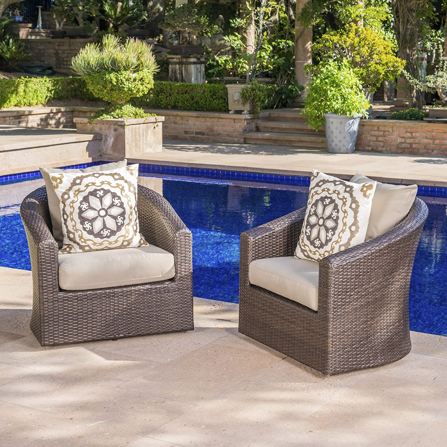 Dillard Outdoor Aluminum Framed Mix Brown Wicker Swivel Club Chair with Water Resistant Cushions Set of 2, Mix Khaki