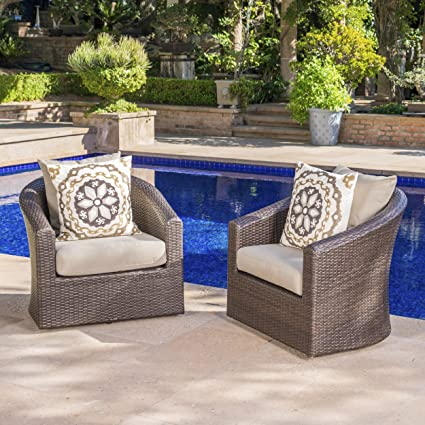Dillard Outdoor Aluminum Framed Mix Brown Wicker Swivel Club Chair With  Water Resistant Cushions (Set