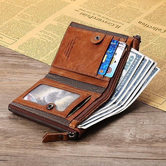 6c92dcf32 Billetera para hombre del zurriago genuino con tarjeta de crédito titular  Zip Bifold cartera regalo en caja (marrón): Amazon.es: Equipaje