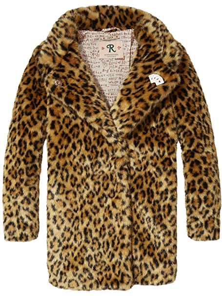 Scotch & Soda RBelle Pelzimitat Leopard Coat, Abrigo para Niñas, (Combo