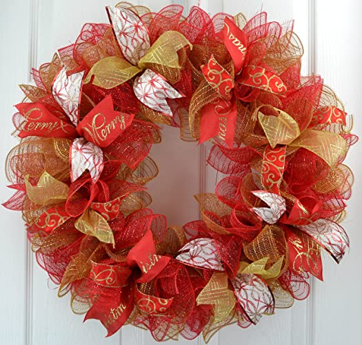 christmas mesh party welcome front door deco mesh wreath red gold - Christmas Mesh