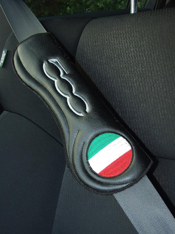 2 ergonomica ricamato in similpelle imbottito Cintura pastiglie per Fiat Abarth 500 non OEM