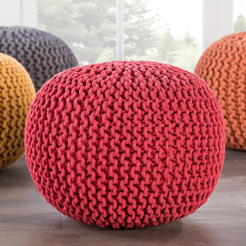 Aragon Spectrum 20-Inch x 20-Inch x 14-Inch Jaipur Solid Pattern Red Cotton Pouf