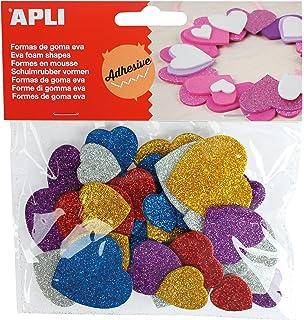 APLI - Bolsa formas EVA adhesiva purpurina formas corazón color, 50 uds
