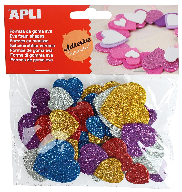52 uds Bolsa formas EVA adhesiva purpurina formas coraz/ón APLI