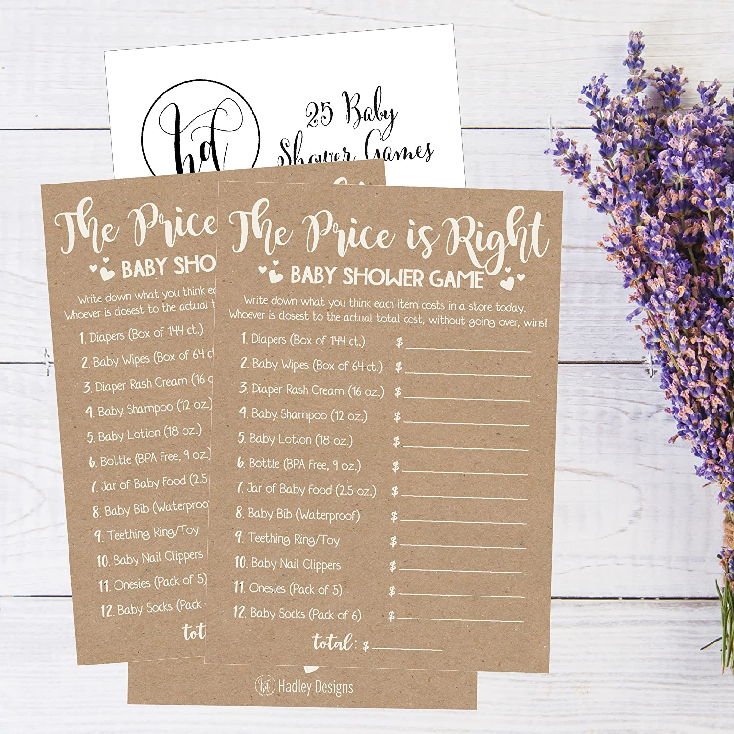 17e1de9e58 Amazon.com  25 Rustic Guess If The Price is Right Baby Shower Game Ideas  for Boys Girls Fun Party Activities Cards Best Gender Neutral Reveal  Guessing Funny ...