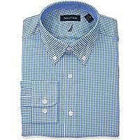 Nautica - Camisa de Vestir para Hombre, Corte clásico, Cuello bajo, botón