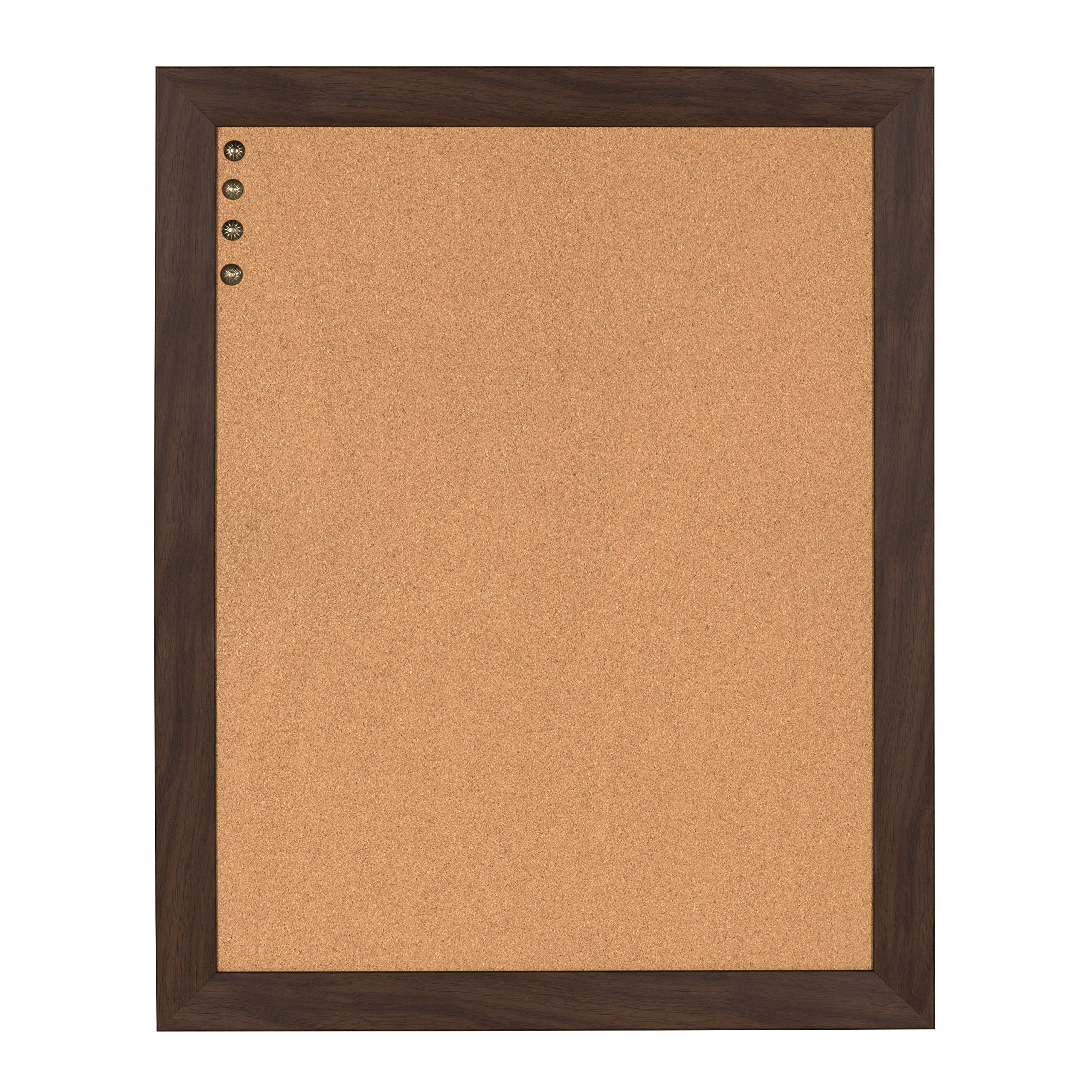 DesignOvation Beatrice Framed Corkboard, 23x29, Walnut Brown