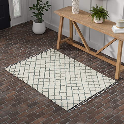 Stone Beam Tassled Criss-Cross Wool Area Rug, 4 x 6 Foot, Blue and White