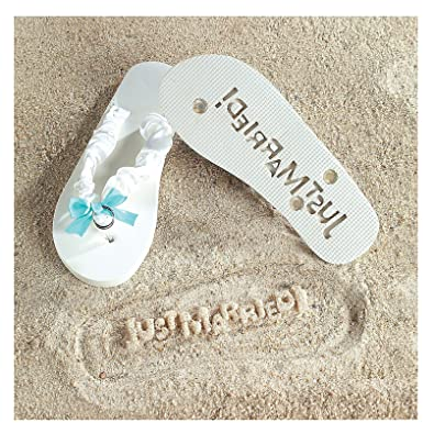 Just Married Flip Flops - Stamp Just Married in the Sand! Size 5-6