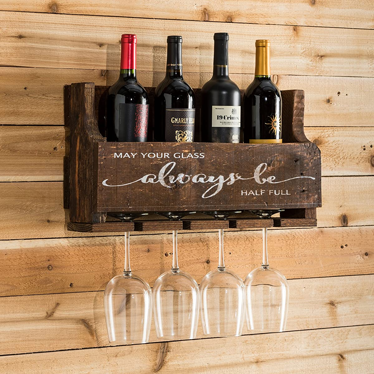 del Hutson Designs The Little Elm Wine Rack w/Quote May Your Glass Alway Be Half Full, USA Handmade Reclaimed Wood, Wall Mounted, 4 Bottle 4 Long Stem Glass Holder (Walnut)