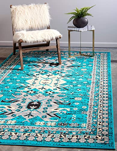 Unique Loom Taftan Collection Geometric Tribal Turquoise Area Rug 8 0 x 10 0