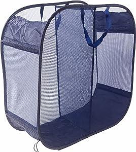 Amelitory 2 Compartment Mesh Pop-up Laundry Hamper for Home,Dorm,Travelling Storage Dark Blue