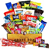 CraveBox Deluxe Care Package Snack Box (50 Count) - Gift Basket Variety Pack with Bars, Chips, Candy and Cookies - Sweet and Salty Treats for Lunches, College Students and Office Parties