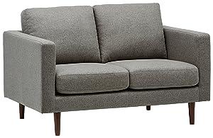 """Rivet Revolve Modern Upholstered Loveseat with Tapered Legs, 56.3""""W, Grey Weave"""