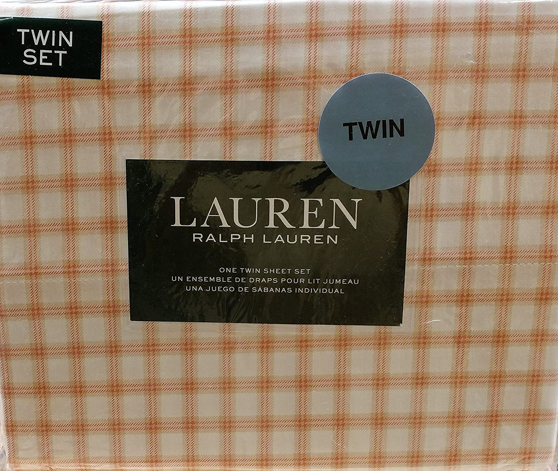 Ralph Lauren 3 Piece Sheet Orange and Beige Plaid Check on White Twin