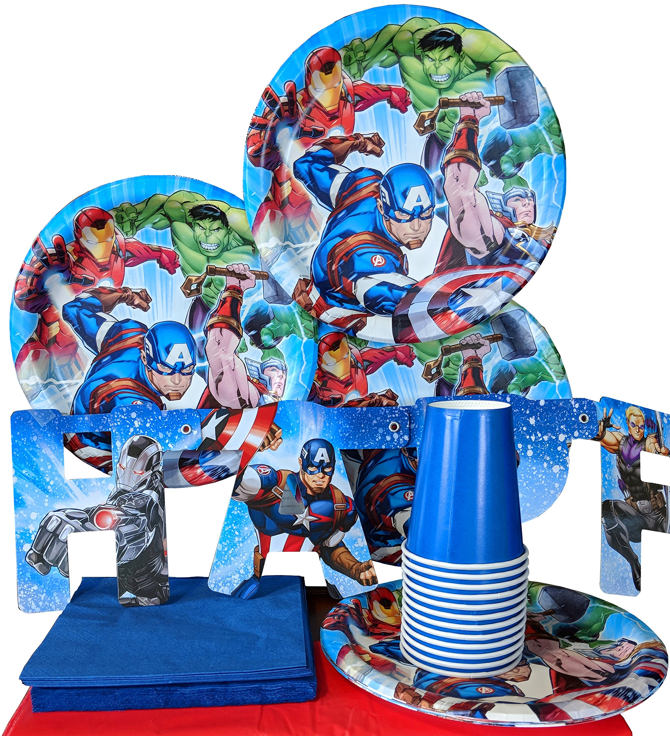 Marvel Avengers Superhero Birthday Plates Napkins Cups Party Supplies Serves 8 by HL Enterprise