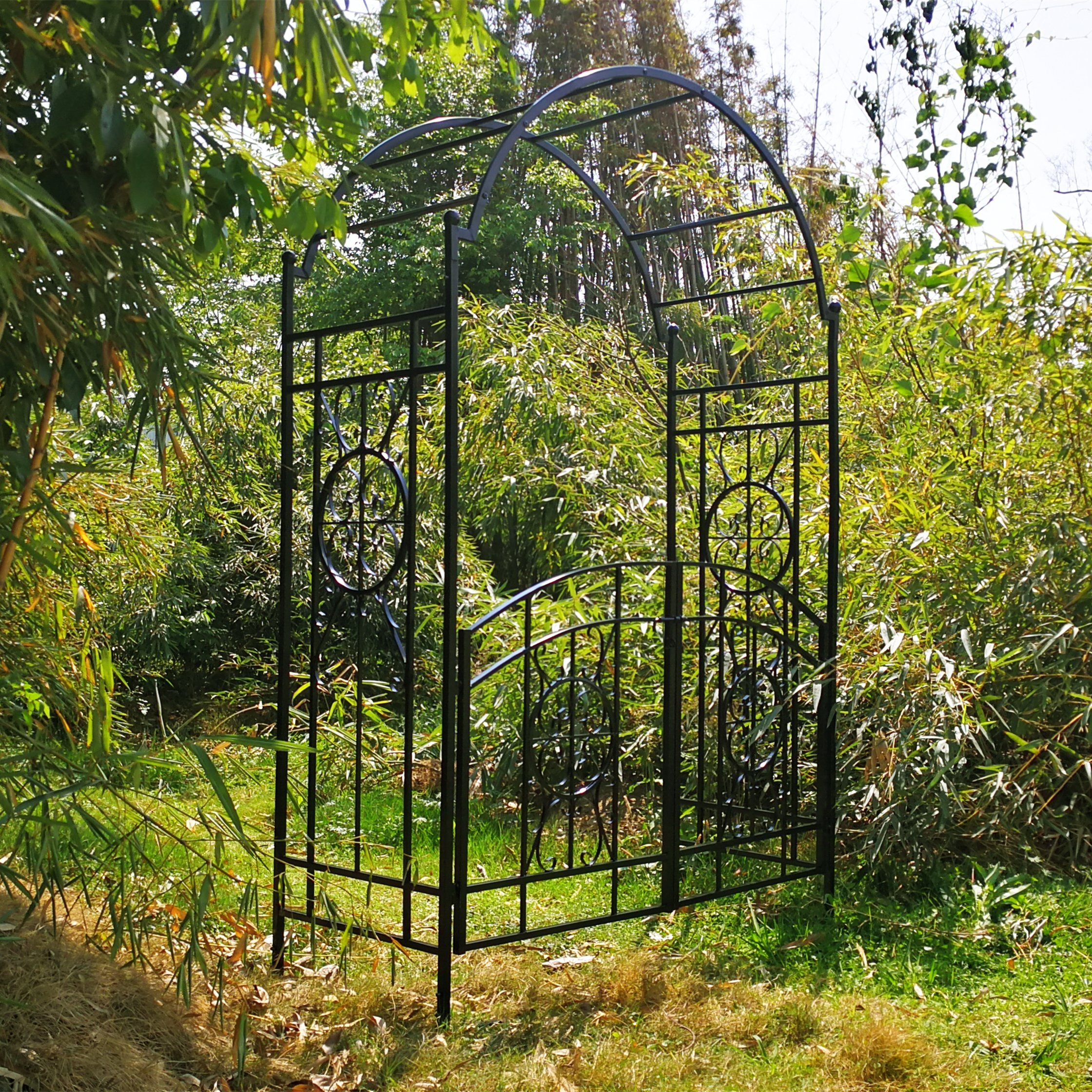 OUTOUR Garden Arch with Gate, 84H x 53D x 23W, Garden Arbor Arbour Archway for Climbing Plants Roses Vines, Outdoor Garden Lawn Backyard Patio, Black