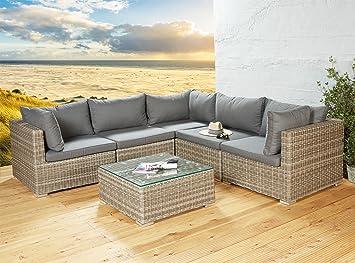Exklusive Loungegarnitur Eck Lounge Sitzgruppe in braun für die ...