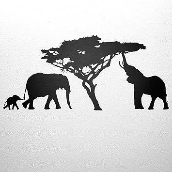 Wandtattoo Afrika Elefanten 48cm X 112cm Baum WANDfee