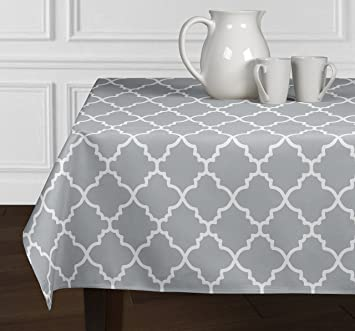 Grey U0026 White Trellis Dining Room Kitchen Square Tablecloth (60u0026quot; X ...
