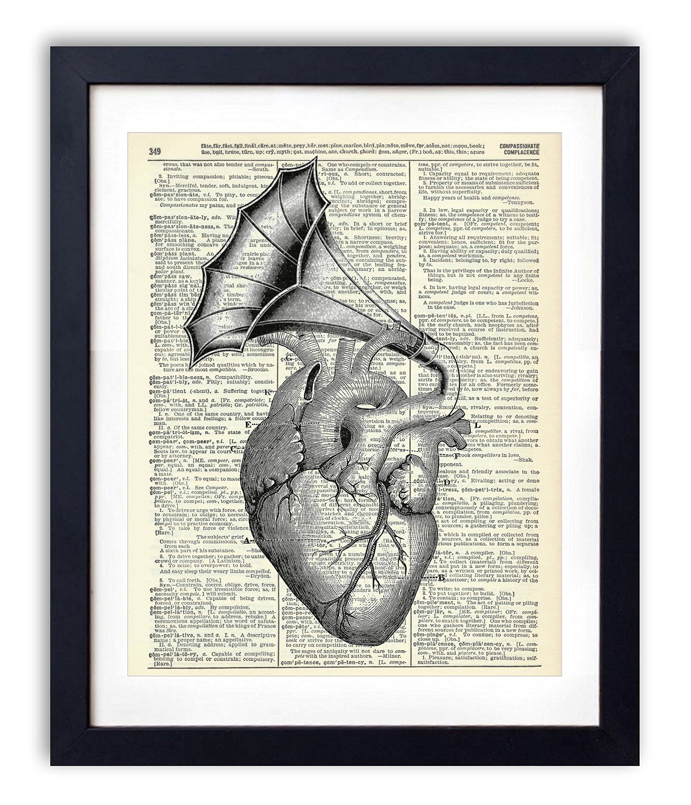 Heart With Vintage Horn Illustration Upcycled Dictionary Art Print 8x10 by Vintage Book Art Co.