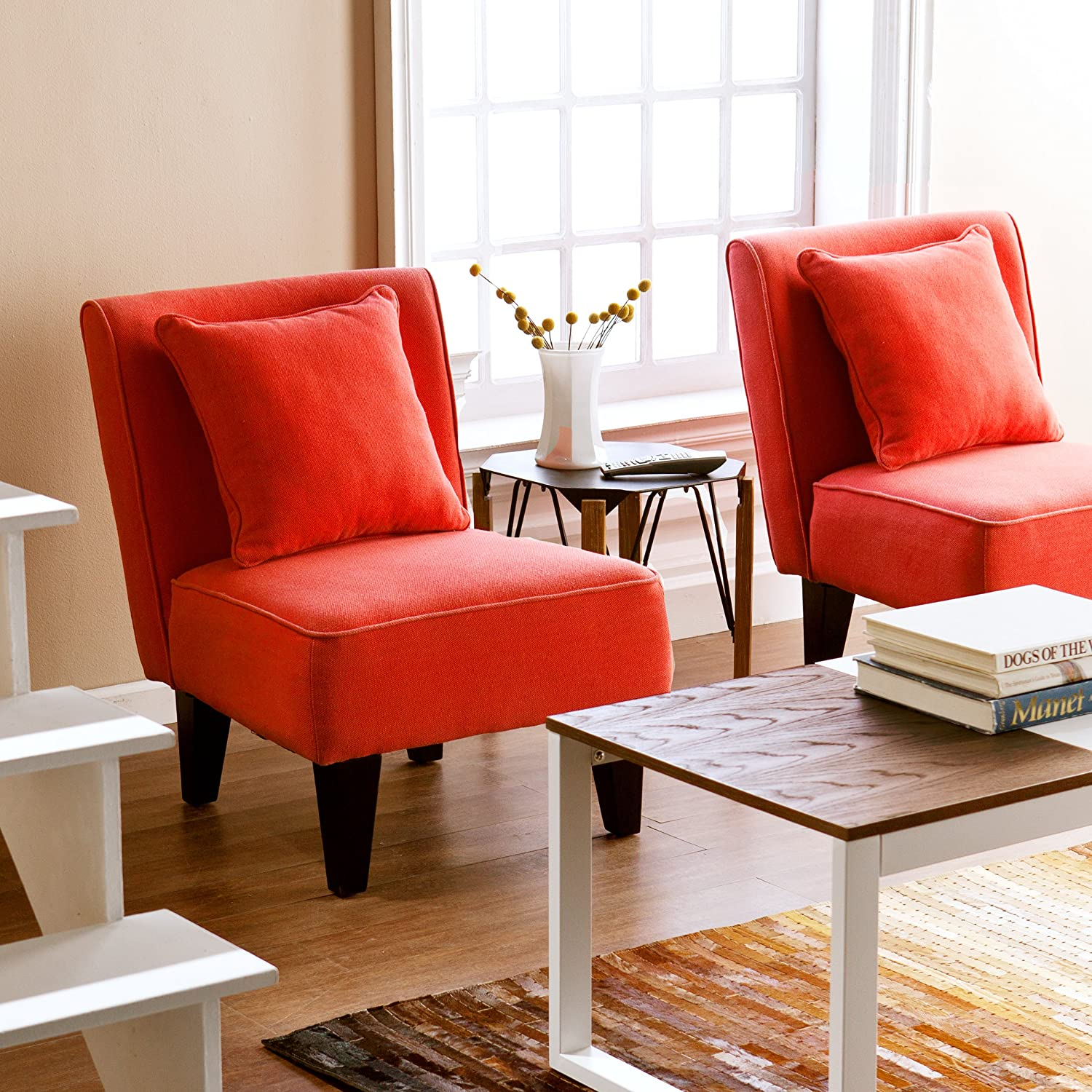 Amazon Holly & Martin Purban 2pc Slipper Chairs Red Orange